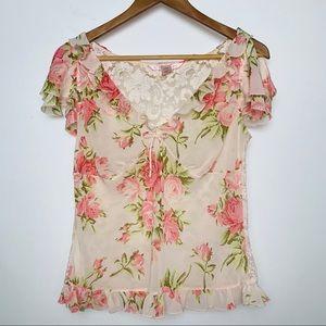 Victoria's Secret Sheer Floral Top w Lace Back (M)